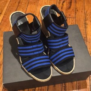 Cobalt Blue / Black Striped Espadrilles
